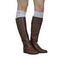 Lace Button White Boot Topper