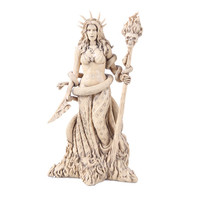 Hecate Greek Pagan Goddess with Snake and Skull Staff Statue 10.5H