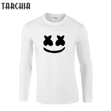 TARCHIIA 2018 new  boy men Long Sleeve male t shirt marshmello face tshirt Men's T-Shirt 100% Cotton Plus Size Homme smile face