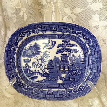 Allertons Ltd England Flow Blue Willow Rectangular Platter Tidbit Bon Bon Sweetmeats Chinese Temple Design Vintage Serving Tray 1930s