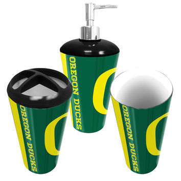 Oregon Ducks NCAA Bath Tumbler, Toothbrush Holder & Soap Pump (3pc Set)