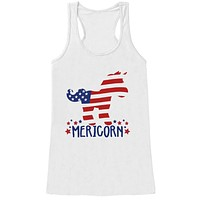 Womens 4th of July Shirt - Mericorn - White Tank Top - Funny Unicorn Fourth of July Shirt - American Pride Tank - Patriotic Independence Day