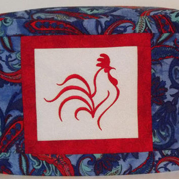 Rooster Toaster Cover - Two Slice Toaster Cover - Blue Toaster Cover - Red and Blue Paisley Toaster Cover