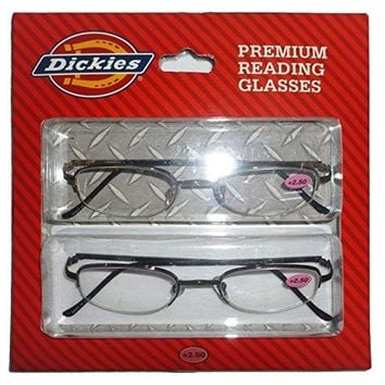 Dickies Black Premium Reading Glasses 2 Pack +2.50 Readers