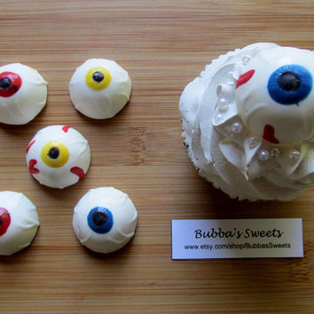 HALLOWEEN EYEBALL Cupcake TOPPERS - (24) Eyeball Toppers, Halloween Party, Spooky Favors