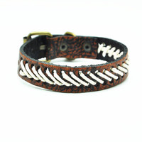 Real Leather Woven Women Leather Cuff Bracelet, Men Leather Bracelet , unisex bracelet C052