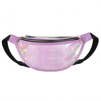 Get Busy Clear Bumbag In Holographic PU