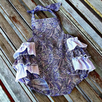 Purple Paisley Bubble Romper, Baby Girl Sunsuit, Spring Summer Easter 1st Birthday Outfit, Custom Boutique Children Clothing, Kids Clothes