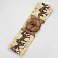 Boho Horse Beaded Wooden Belt Buckle Mocha Ivory