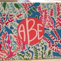 "Lilly Pulitzer inspired ""Lets Cha Cha"" Monogrammed 8x10 Canvas"