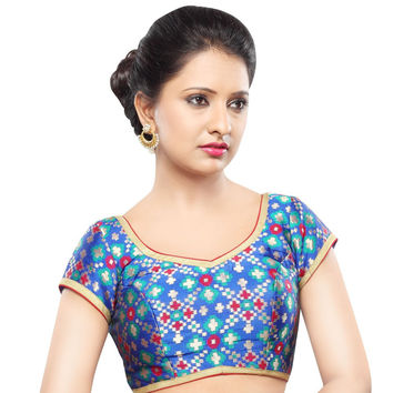 Designer Blue Patola Back Open Ready-made Saree Blouse Choli SNT X-355-SL