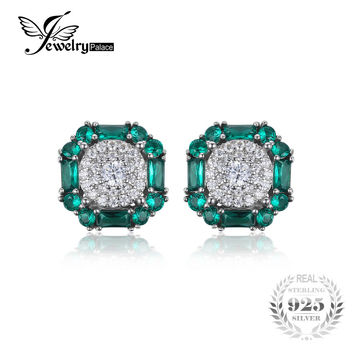 JewelryPalace 1.8ct Created Emerald Stud Earrings For Women 100% Real 925 Sterling Silver Vintage Fine Jewelry Gift