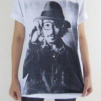 Johnny Depp T-Shirt -- Johnny Depp Glasses Tee Shirt White Shirt Movie Tee Shirt Unisex T-Shirt Women T-Shirt Men T-Shirt Size M