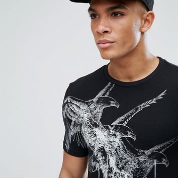 ASOS Longline Muscle T-Shirt With Eagle Print at asos.com