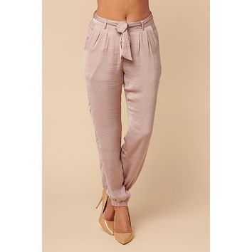 Champagne Silky Tie Pants (Taupe)