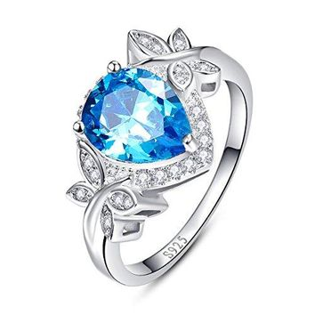 BONLAVIE 385ct Pear Cut Created Swiss Blue Topaz amp CZ Halo Promise Engagement Ring 925 Sterling Silver