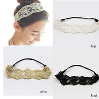 1pcs 2 colors women girl's classic vintage lace headband flower bandanas Elastic Head Band Hair Accessories