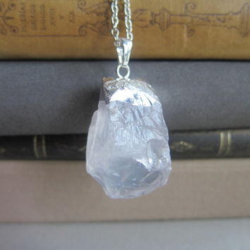 Crystal Quartz Necklace Geode Raw Mineral Stone Pendant Natural Earthy Rustic Sterling Silver Chain Clear Rock Bohemian Long Layered