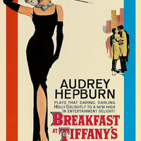 Audrey Hepburn Breakfast At Tiffany's Vintage Movie Poster Giclee Art Print WIth Stretched Canvas Option