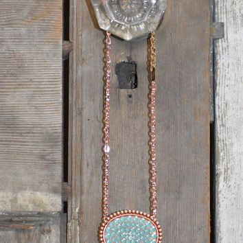 Pink Panache rose gold/mint large oval short necklace