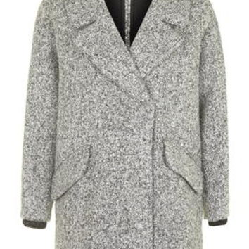 Slouchy Boucle Wool Blend Coat - Monochrome