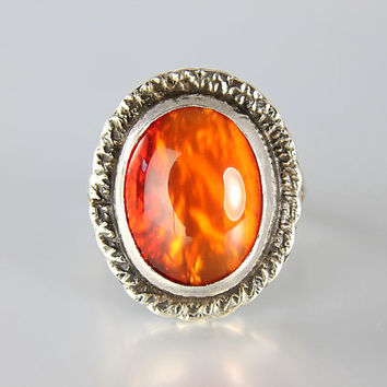 Vintage Native American sterling silver Mexican Opal Ring Navajo jewelry Southwestern