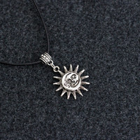 Sun and Moon Choker Necklace Pendant Statement Locket Cord Collar 90s Leather Harness Dress Trendy Boho String Tattoo Bdsm Grunge