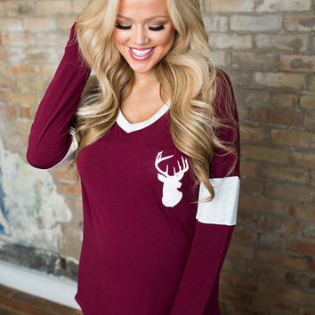 Oh Deer Baseball Top Burgundy
