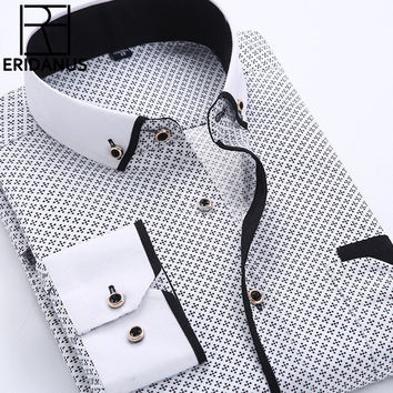 Men Dress Shirt New Arrival Long Sleeve Slim Fit Button Down Collar High Quality Printed Business Shirts