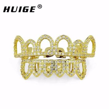 ac DCCKO2Q Hip Hop CZ Teeth Grills Set Micro Paved Cubic Zircon Caps Shaped  4 Open Hollow Top & Bottom Grill Christmas vampire Grills Sets