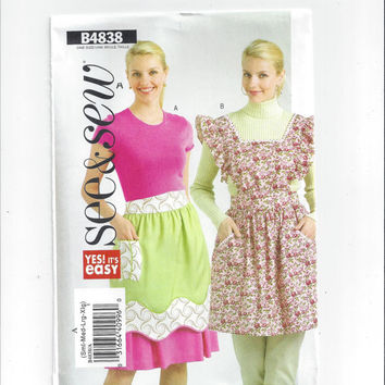 See & Sew 4838 Pattern for Misses' Aprons, by Butterick, FACTORY FOLDED, UNCUT, From 2006, One Size, Yes It's Easy, Home Sew Pattern