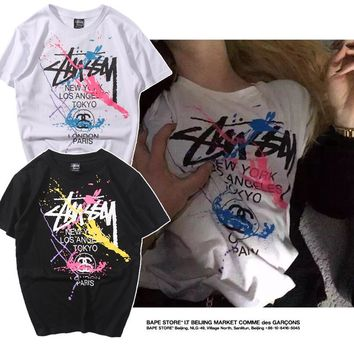 Stussy Print Short Sleeves Women Men Shirt Top Tee