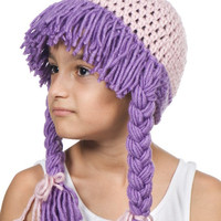 Cabbage Kids  Crochet Hat with hair. Kids hat. Pink and Lilac Purple.