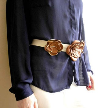 Leather Flower Belt. Beige Belt. Brown Belt.  Sash Belt .  Unique  Leather Belt
