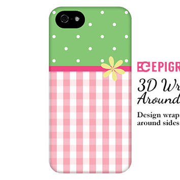 Pink gingham iPhone 6 case, iPhone 6 plus case, custom iPhone 5c case, iPhone 4s phone cases, Phone 5s case, Galaxy S5 case