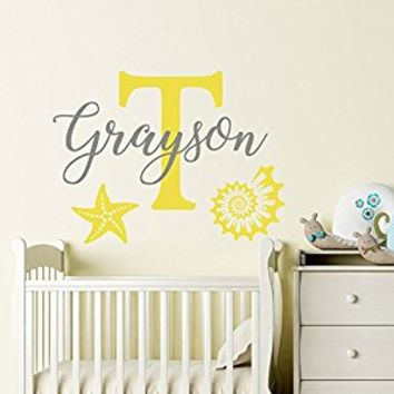 Name Wall Decal Baby Nursery Wall Decal Name Starfish Nursery Vinyl Decal Shell Wall Decor Name Stickers Decal Star Art Decor S121