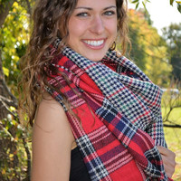 Plaid Blanket Scarf ~ Red