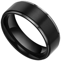8mm Black Flat Brushed Matte Titanium Wedding Bands Rings for Men Women Comfort Fit Size 7.5 to 13 (9.5)