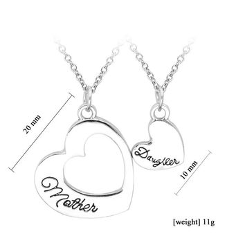 Love Between Mother And Daughter Heart Necklace
