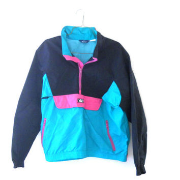 Men Windbreaker Neon Windbreaker Jacket from TheVilleVintage on
