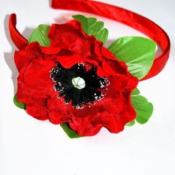 "Head band ""Poppy"" red"