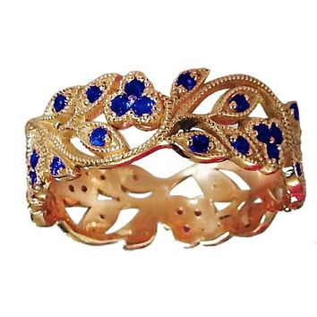18K Rose gold Leaves Band with 42 Sapphires Filigree Ring Milgrain Twig Ring