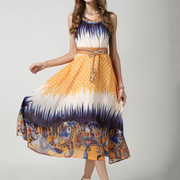 Yellow Multi Print Sleeveless Waist Belt Empire Chiffon Maxi Dress