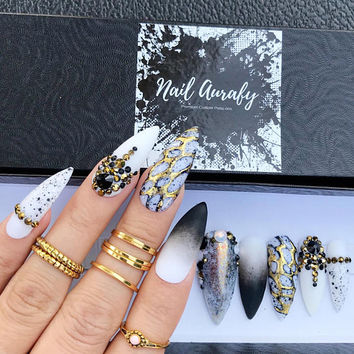 Golden Elegance-Black Ombre White Gold Foil Glitter Chrome Swaroski Opal/Press on Nails/Fake Nails/False Nails/Glue on Nails