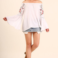 Embroidered Bell Off the Shoulder Top