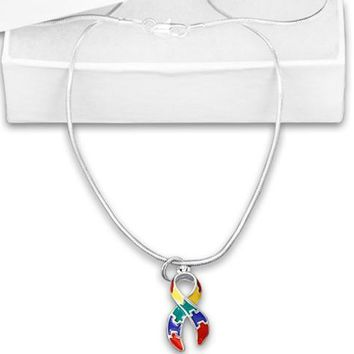 Puzzle Charm Necklace for Autism Awareness