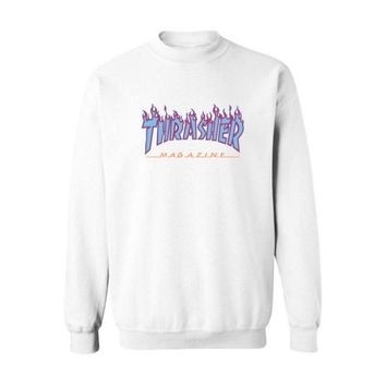 Fall and Winter Thrasher Flame Skateboard Tide Death Hip Hop West Coast Harajuku cotton round neck sweater Blue letters-2