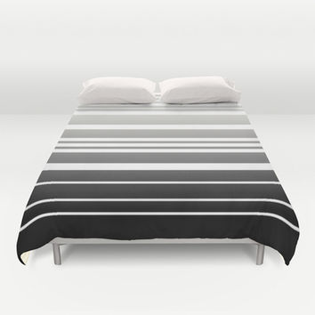 Bay Ombre Stripe: Gray Black Duvet Cover by Eileen Paulino