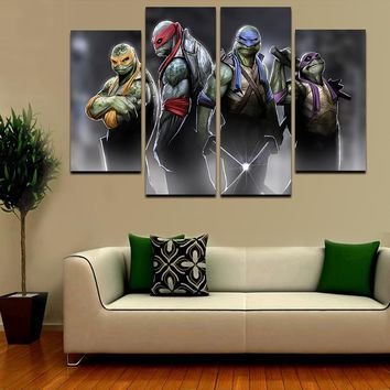 2016 Hot 5 Pcs Large HD Teenage Mutant Ninja Turtles With Abstract Canvas Print Painting for Living Room Wall Art Picture Gift