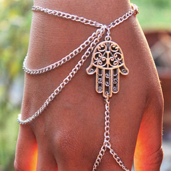 Hamsa Fatima Hand Chain Linked Ring Bracelet